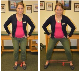 Physical Therapist performs side steps