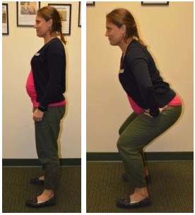 Physical Therapist performs squats
