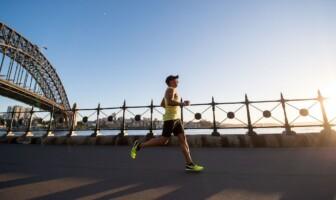 Man running on a bridge