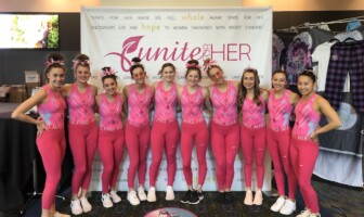 APEX Gymnasts wear pink leotards at PINK Invitational