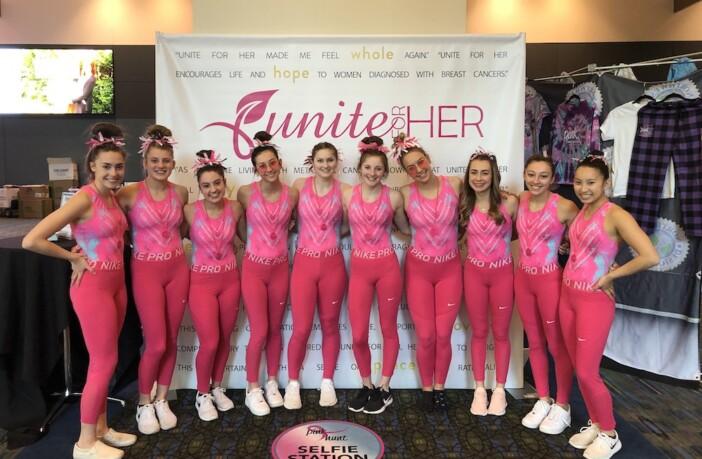 APEX Gymnasts wear pink leotards at PINK Invitational