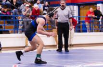 Tuscarora wrestler Bobby Philpot wrestles in the championship match of the 2020 VHSL Region 4C championships