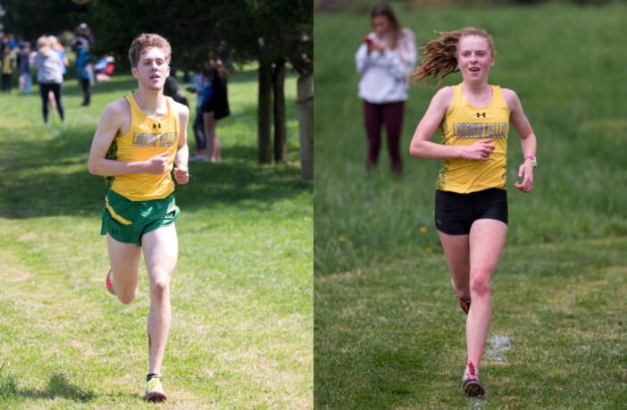 Matthew Smith (left) and Scarlet Fetterolf (right) both crossed the finish line in first place at the VHSL Region 4C cross country championship on April 13 in Leesburg.